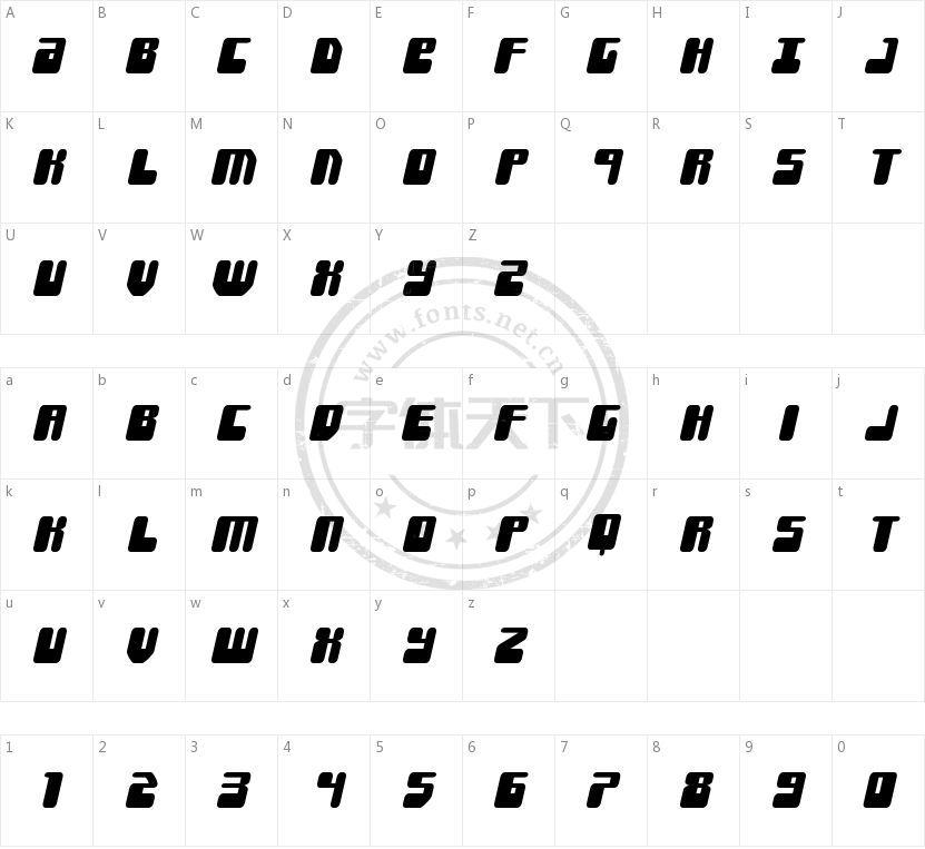 Force Majeure的字符映射图