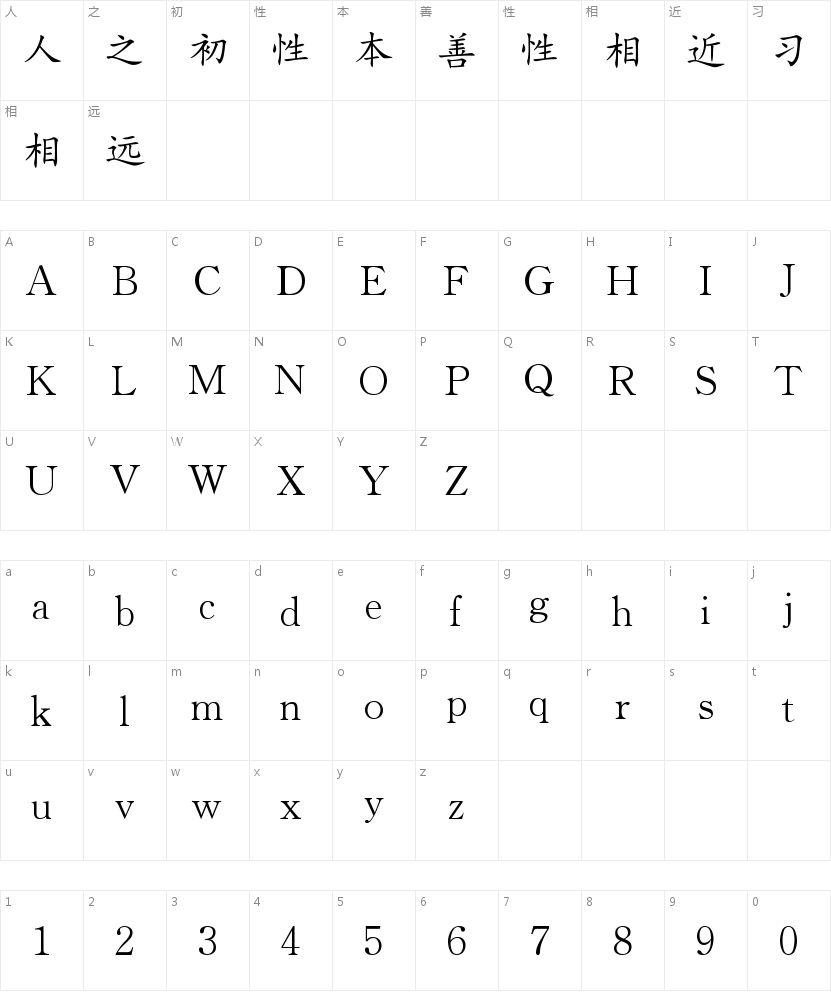 极字经典楷体简繁的字符映射图