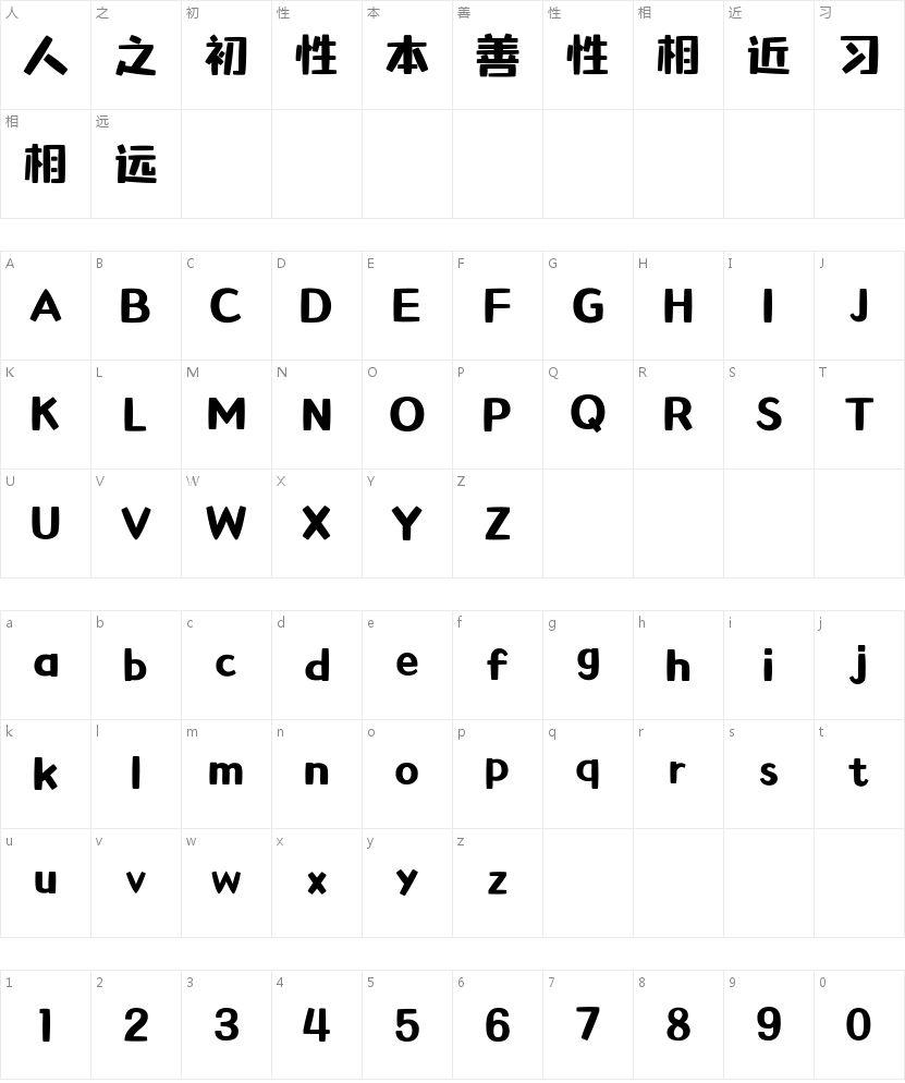 胡晓波萌萌体的字符映射图