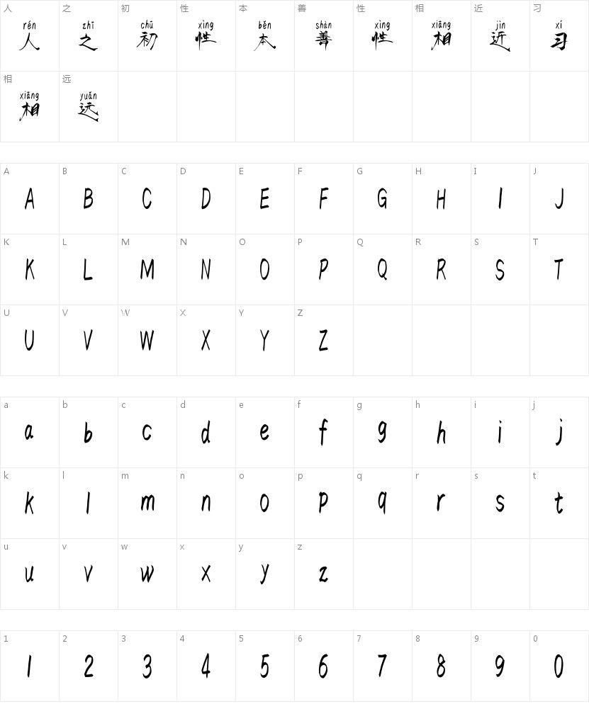 汉标东方不败拼音的字符映射图